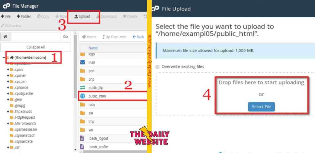 How do I upload my website in cPanel 4